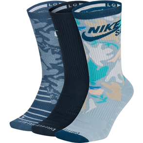 Nike Unisex SB Everyday Max Lightweight Crew Sock 3Pairs, Multi-Colour