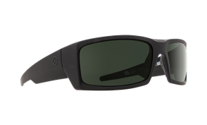 SPY General Sunnies Polarized, Frame-Soft Matte Black, Lens-Happy Gry Grn