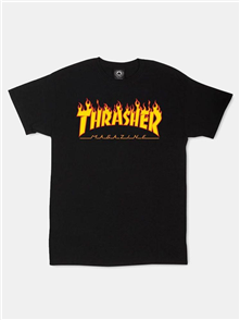 Thrasher Fire Logo S/S Tee, Black
