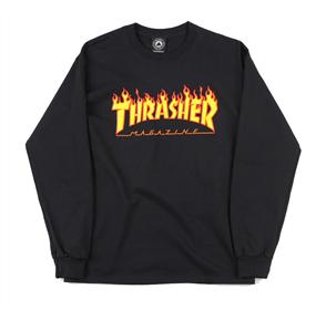 Thrasher Flame L/S Tee Black
