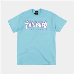 Thrasher Flame Tee, Sky Blue