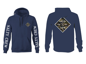 Salty Crew Tippet Camo Hood Fleece, Navy