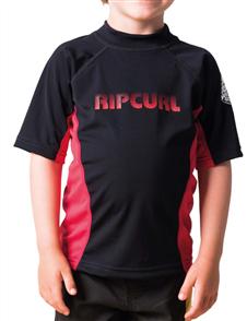Rip Curl Grom Undertow Short Sleeve Uv Tee, 4019 Black/Red