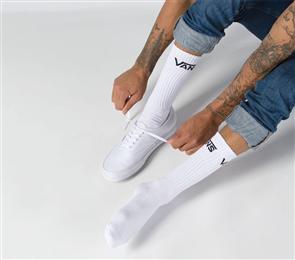 Vans Mens Classic Crew Sock, 3 Pack, White