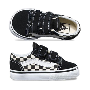 Vans Toddler Velcro Old Skool Shoes, Primary Check