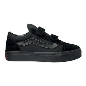 Vans Uy Old Skool Velcro Youth Shoe, Black/ Black