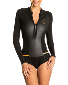 Rip Curl 1mm G Bomb Long Sleeve Spring Suit Hi Cut, Black