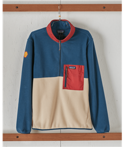 Patagonia Microdini 1/2 Zip Pullover Sweat, Clean Climb Patch/Oar Tan