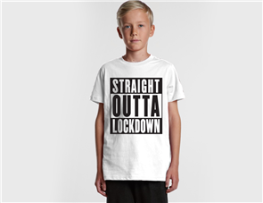 US STRAIGHT OUTTA LOCKDOWN YOUTH TEE, WHITE
