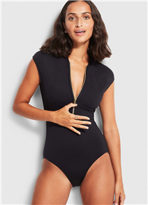 Seafolly Zip Front Maillot Onepiece, Black